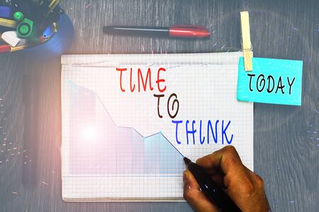 Writing note showing Time To Think. Business concept for Reconsider some things Reflection time Moment to ponder Imagens