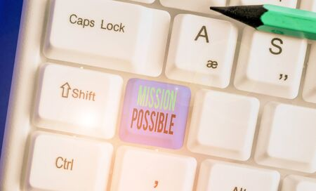 Text sign showing Mission Possible. Business photo showcasing special assignment that is given to a demonstrating or group Stockfoto
