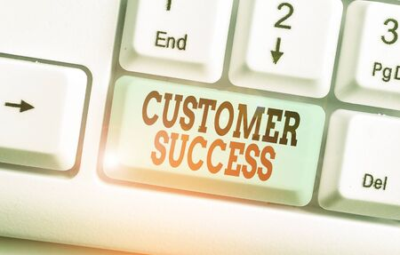 Text sign showing Customer Success. Business photo text customers achieve desired outcomes while using your product