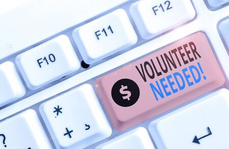 Text sign showing Volunteer Needed. Business photo showcasing need work for organization without being paid Banco de Imagens