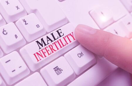 Word writing text Male Infertility. Business photo showcasing the inability to cause pregnancy in a fertile Banco de Imagens