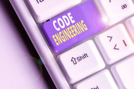 Word writing text Code Engineering. Business photo showcasing application of engineering to the development of software