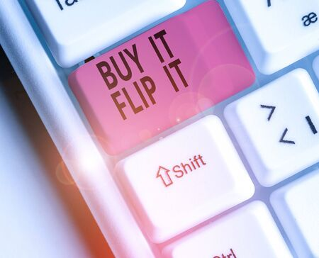 Conceptual hand writing showing Buy It Flip It. Concept meaning Buy something fix them up then sell them for more profit