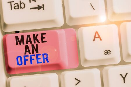 Handwriting text Make An Offer. Conceptual photo Proposal Bring up Volunteer Proffer Bestow Bid Grant White pc keyboard with empty note paper above white background key copy space
