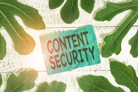 Conceptual hand writing showing Content Security. Concept meaning the protection against deliberate threats to content Leaves surrounding notepaper above a classic wooden table 스톡 콘텐츠