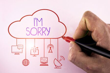 Text sign showing I M Sorry. Business photo showcasing To ask for forgiveness to someone you unintensionaly hurt