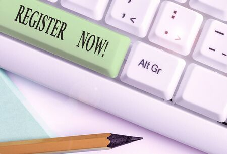 Text sign showing Register Now. Business photo text official list or record showing or things into web or forum 免版税图像