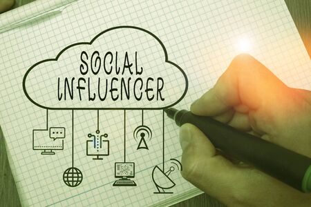 Word writing text Social Influencer. Business photo showcasing persuade others by virtue of their authenticity and reach