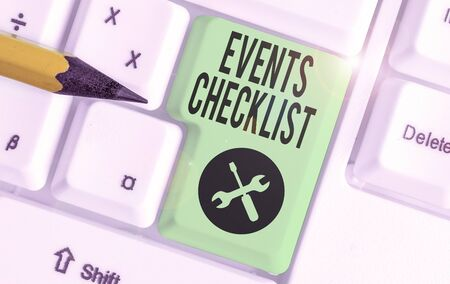 Conceptual hand writing showing Events Checklist. Concept meaning invaluable tool for successfully analysisaging your events