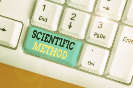 Writing note showing Scientific Method. Business concept for method of procedure that has characterized natural science