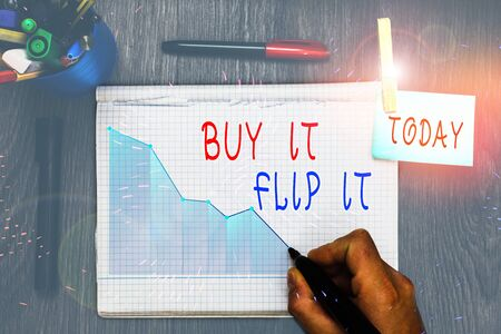 Writing note showing Buy It Flip It. Business concept for Buy something fix them up then sell them for more profit 版權商用圖片