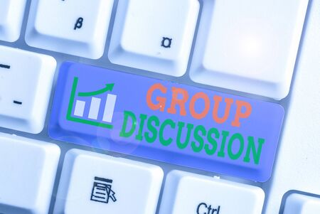 Word writing text Group Discussion. Business photo showcasing gather either formally or informally to bring up ideas