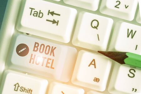Conceptual hand writing showing Book Hotel. Concept meaning an arrangement you make to have a hotel room or accommodation Stok Fotoğraf