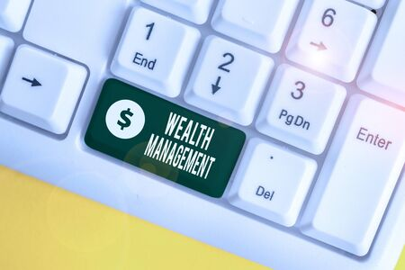 Handwriting text writing Wealth Management. Conceptual photo perforanalysisce tracking of the funds as per regular market White pc keyboard with empty note paper above white background key copy space