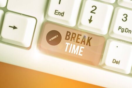Conceptual hand writing showing Break Time. Concept meaning scheduled time when workers stop working for a brief period