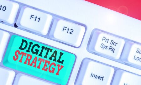 Word writing text Digital Strategy. Business photo showcasing plan for maximizing the business benefits of data assets