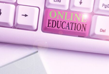 Word writing text Online Education. Business photo showcasing kind of learning that takes place via the Internet