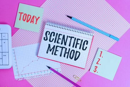 Text sign showing Scientific Method. Business photo showcasing method of procedure that has characterized natural science Writing equipments and computer stuffs placed above colored plain table Stockfoto