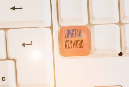 Writing note showing Longtail Keyword. Business concept for search phrases that are highly relevant to specific niche Stock Photo
