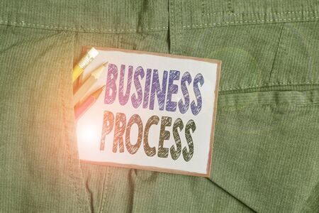 Text sign showing Business Process. Business photo text implemented to accomplish a target organizational goal Writing equipment and purple note paper inside pocket of man work trousers