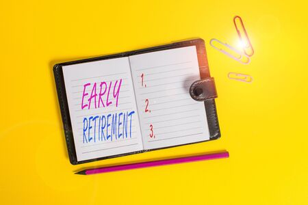 Conceptual hand writing showing Early Retirement. Concept meaning practice of leaving employment before the statutory age Dark leather locked diary striped sheets marker colored background