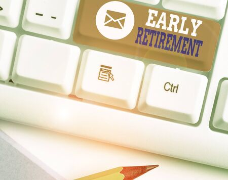Word writing text Early Retirement. Business photo showcasing practice of leaving employment before the statutory age