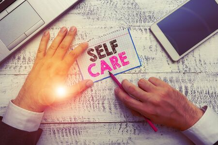 Writing note showing Self Care. Business concept for Give comfort to your own body without professional consultant Stok Fotoğraf
