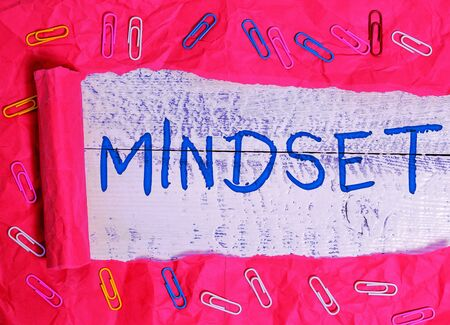 Word writing text Mindset. Business photo showcasing A standard thought of a demonstrating of what he orshe will be done