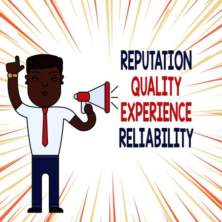 Handwriting text Reputation Quality Experience Reliability. Conceptual photo Customer satisfaction Good Service Man Standing with Raised Right Index Finger and Speaking into Megaphone