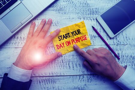 Word writing text Start Your Day On Purpose. Business photo showcasing Have clean ideas of what you are going to do Reklamní fotografie