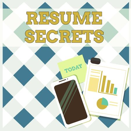 Conceptual hand writing showing Resume Secrets. Concept meaning Tips on making amazing curriculum vitae Standout Biography Layout Smartphone Sticky Notes with Pie Chart and Bar Graph Stock Photo