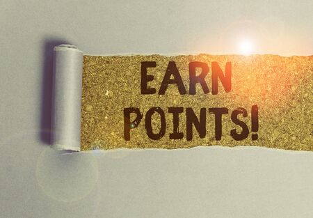 Conceptual hand writing showing Earn Points. Concept meaning collecting scores in order qualify to win big prize Stockfoto