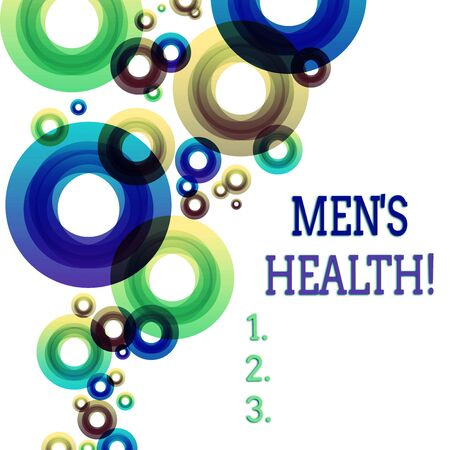 Word writing text Men S Health. Business photo showcasing state of complete physical mental and social well being by analysis Vibrant Multicolored Circles Disks of Different Sizes Overlapping Isolated 版權商用圖片