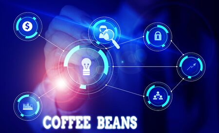 Handwriting text writing Coffee Beans. Conceptual photo pit inside the red or purple fruit often referred as a cherry Woman wear formal work suit presenting presentation using smart device