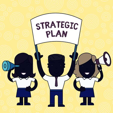 Word writing text Strategic Plan. Business photo showcasing A process of defining strategy and making decisions People with Blank Banner, Megaphone and Spy Glass Peaceful Demonstration