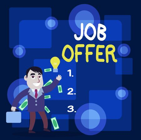 Writing note showing Job Offer. Business concept for A peron or company that gives opurtunity for one s is employment Successful Businessman Generating Idea or Finding Solution