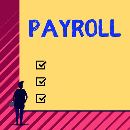 Handwriting text writing Payroll. Conceptual photo Amount of wages and salaries paid by a company to its employees Man stands in back view in front of huge empty blank big rectangle board