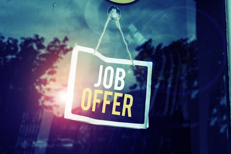 Text sign showing Job Offer. Business photo text A peron or company that gives opurtunity for one s is employment Empty black board with copy space for advertising. Blank dark board