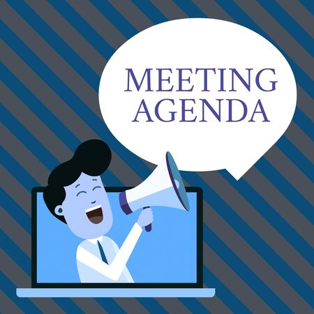 Handwriting text writing Meeting Agenda. Conceptual photo An agenda sets clear expectations for what needs to a meeting Man Speaking Through Laptop into Loudhailer Blank Speech Bubble Announce Stockfoto