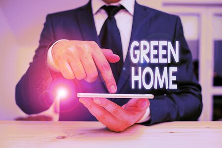 Writing note showing Green Home. Business concept for An area filled with plants and trees where you can relax