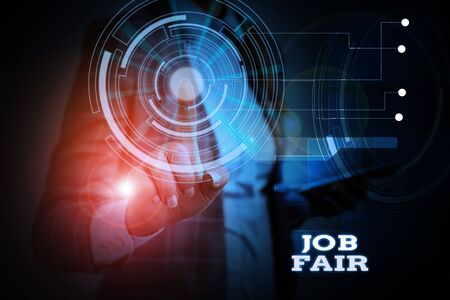 Word writing text Job Fair. Business photo showcasing An event where a demonstrating can apply for a job in multiple companies Woman wear formal work suit presenting presentation using smart device Banco de Imagens