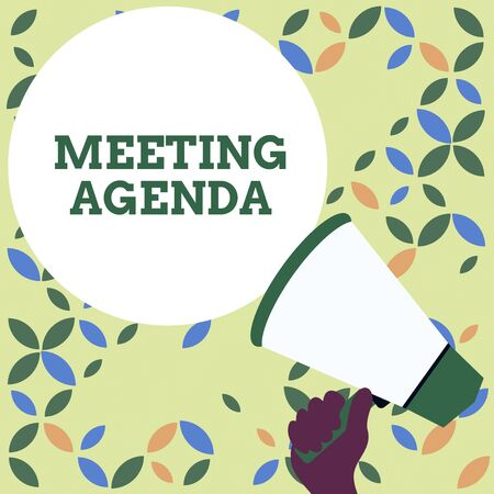 Word writing text Meeting Agenda. Business photo showcasing An agenda sets clear expectations for what needs to a meeting Hand Holding Loudhailer Empty Round Speech Text Balloon Announcement New Stockfoto