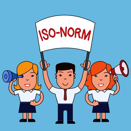 Conceptual hand writing showing Iso Norm. Concept meaning An accepted standard or a way of doing things most showing agreed People with Banner Megaphone and Spy Glass Demonstration