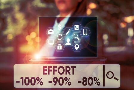 Text sign showing Effort 100 Percent 90 Percent 80 Percent. Business photo text Level of determination discipline motivation