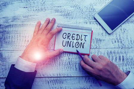 Handwriting text writing Credit Union. Conceptual photo cooperative association that makes small loans to members Stock fotó
