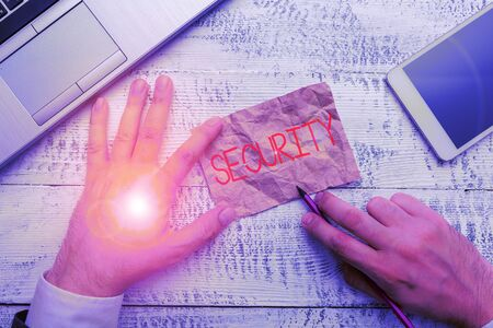 Handwriting text writing Security. Conceptual photo The state of feeling safe stable and free from fear or danger Фото со стока