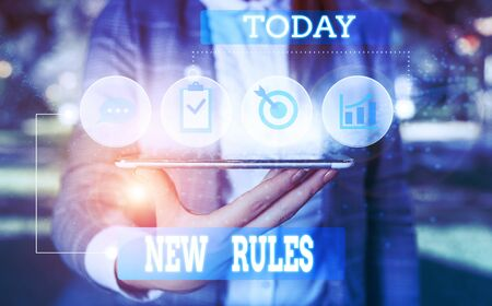 Text sign showing New Rules. Business photo showcasing A state of changing an iplemented policy for better upgrade Female human wear formal work suit presenting presentation use smart device