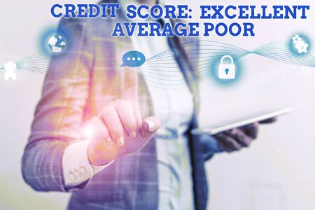 Word writing text Credit Score Excellent Average Poor. Business photo showcasing Level of creditworthness Rating Report Female human wear formal work suit presenting presentation use smart device