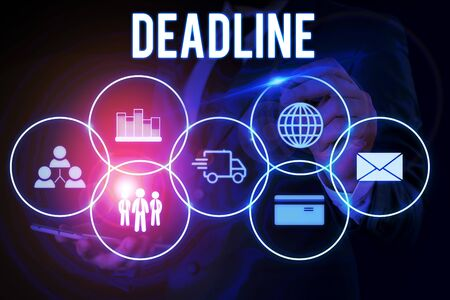Word writing text Deadline. Business photo showcasing Period of time by which something must be finished or accomplished Male human wear formal work suit presenting presentation using smart device