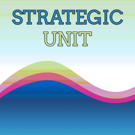 Text sign showing Strategic Unit. Business photo showcasing profit center focused on product offering and market segment. Wavy Abstract Design Three Tone Background with Two Curvy Lines in Center Stock fotó